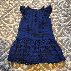 Toddler girls navy eyelet dropped waist  dress